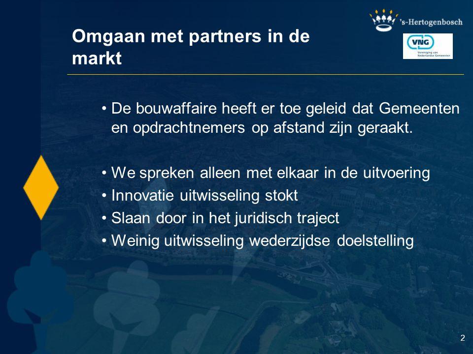 Omgaan met partners in de markt De bouwaffaire heeft er toe geleid dat Gemeenten en opdrachtnemers op afstand zijn geraakt. We spreken alleen met elka