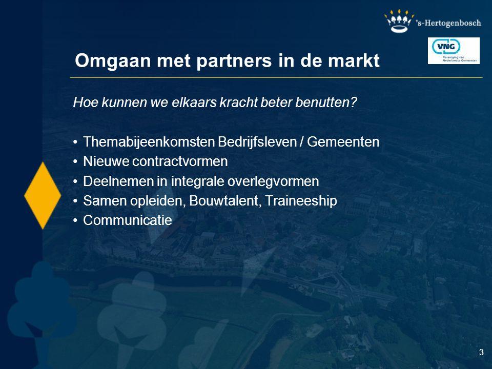 3 Omgaan met partners in de markt Hoe kunnen we elkaars kracht beter benutten? Themabijeenkomsten Bedrijfsleven / Gemeenten Nieuwe contractvormen Deel