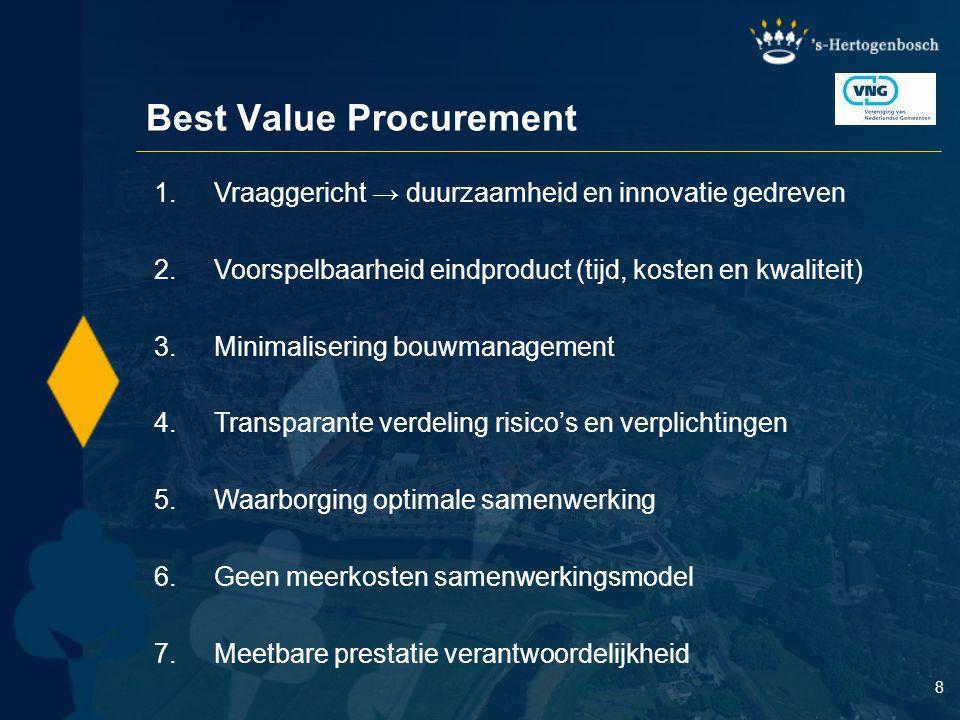 8 Best Value Procurement 1.Vraaggericht → duurzaamheid en innovatie gedreven 2.Voorspelbaarheid eindproduct (tijd, kosten en kwaliteit) 3.Minimaliseri