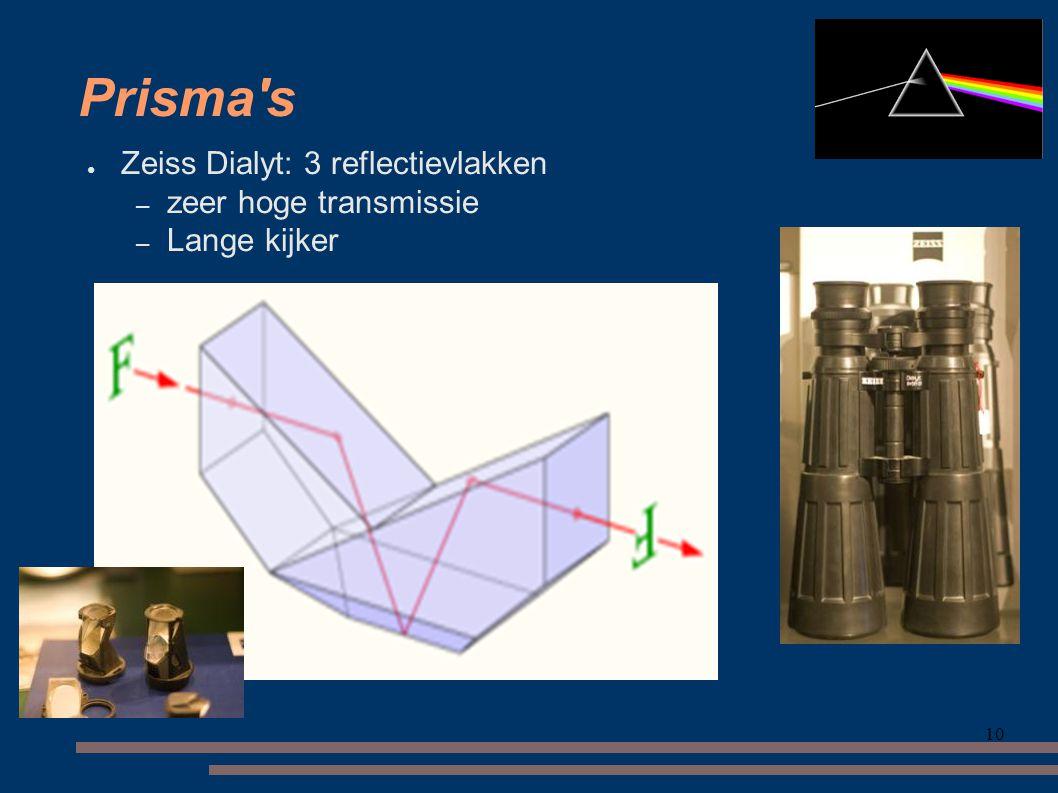 10 Prisma s ● Zeiss Dialyt: 3 reflectievlakken – zeer hoge transmissie – Lange kijker
