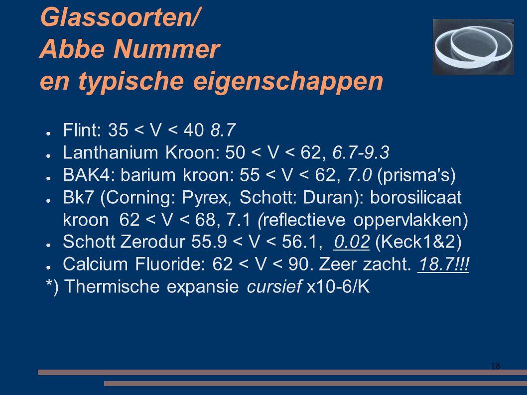 18 Glassoorten/ Abbe Nummer en typische eigenschappen ● Flint: 35 < V < 40 8.7 ● Lanthanium Kroon: 50 < V < 62, 6.7-9.3 ● BAK4: barium kroon: 55 < V < 62, 7.0 (prisma s) ● Bk7 (Corning: Pyrex, Schott: Duran): borosilicaat kroon 62 < V < 68, 7.1 (reflectieve oppervlakken) ● Schott Zerodur 55.9 < V < 56.1, 0.02 (Keck1&2) ● Calcium Fluoride: 62 < V < 90.