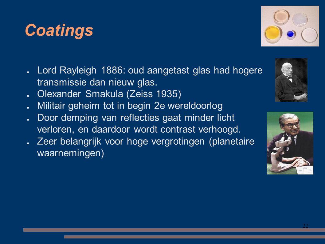 22 Coatings ● Lord Rayleigh 1886: oud aangetast glas had hogere transmissie dan nieuw glas.