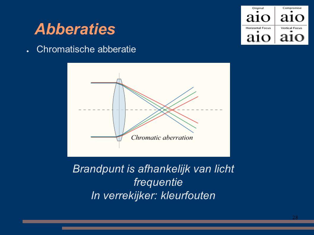 28 Abberaties ● Chromatische abberatie Brandpunt is afhankelijk van licht frequentie In verrekijker: kleurfouten