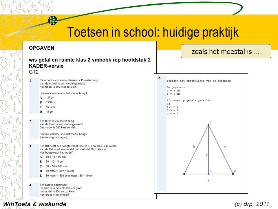 Toetsen in school: huidige praktijk WinToets & wiskunde(c) drp, 2011 zoals het meestal is …