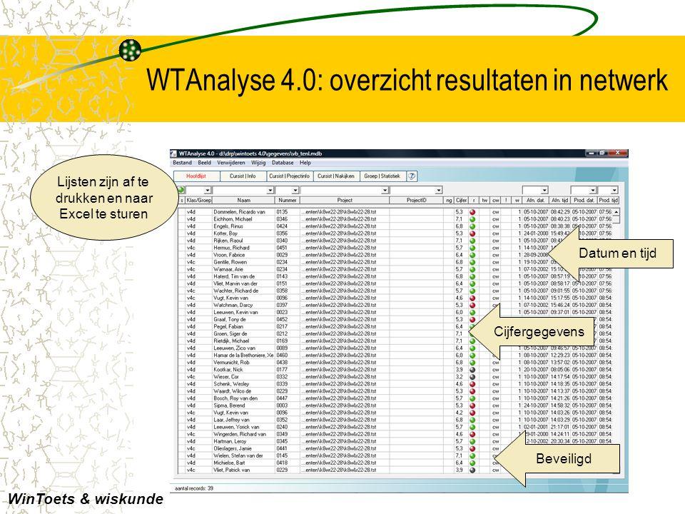 WTAnalyse 4.0: overzicht resultaten in netwerk Lijsten zijn af te drukken en naar Excel te sturen WinToets & wiskunde Datum en tijd Cijfergegevens Bev