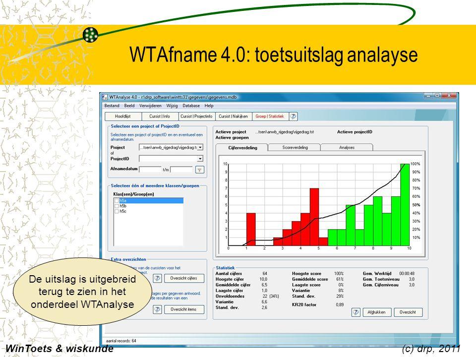 WTAfname 4.0: toetsuitslag analayse WinToets & wiskunde(c) drp, 2011 De uitslag is uitgebreid terug te zien in het onderdeel WTAnalyse