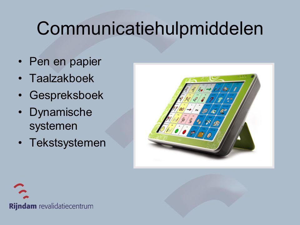 Communicatiehulpmiddelen Pen en papier Taalzakboek Gespreksboek Dynamische systemen Tekstsystemen