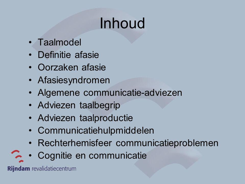 Inhoud Taalmodel Definitie afasie Oorzaken afasie Afasiesyndromen Algemene communicatie-adviezen Adviezen taalbegrip Adviezen taalproductie Communicat