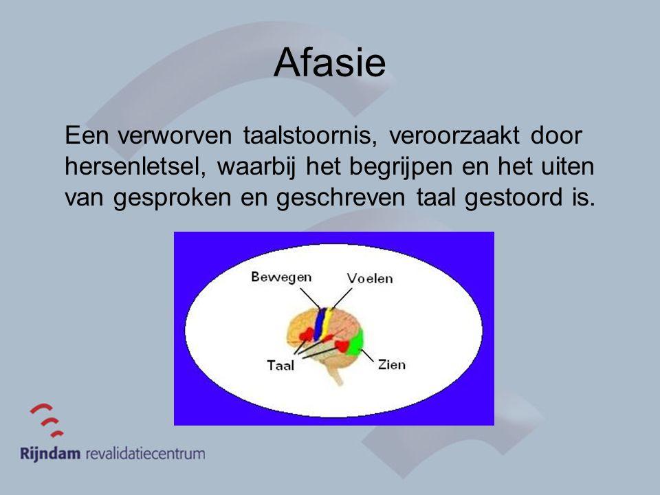 Afasie Een verworven taalstoornis, veroorzaakt door hersenletsel, waarbij het begrijpen en het uiten van gesproken en geschreven taal gestoord is.