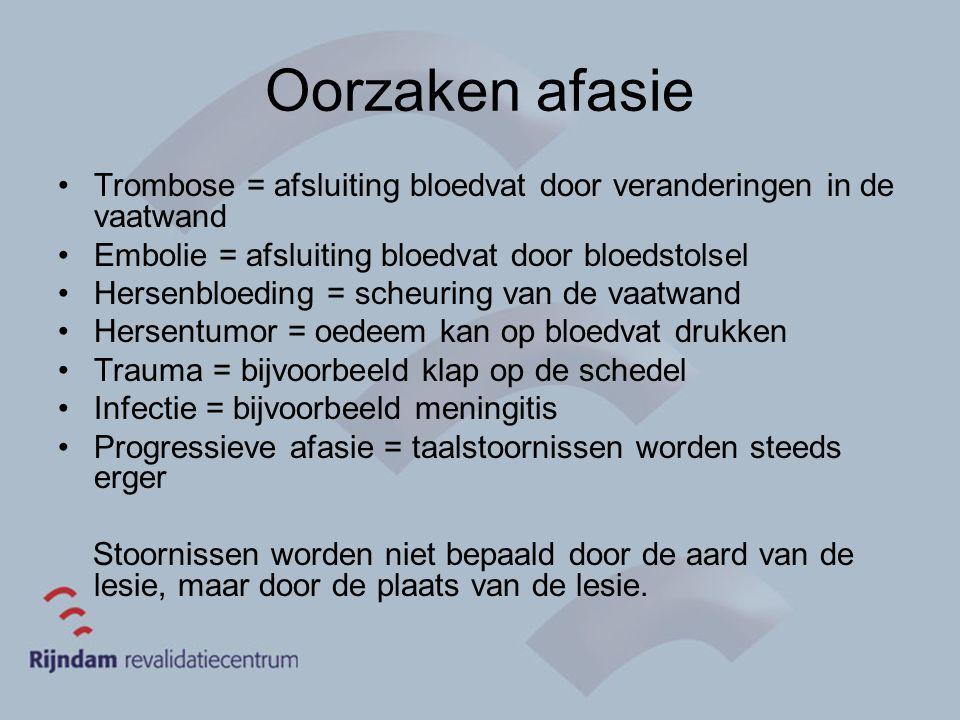 Oorzaken afasie Trombose = afsluiting bloedvat door veranderingen in de vaatwand Embolie = afsluiting bloedvat door bloedstolsel Hersenbloeding = sche