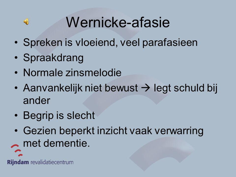Wernicke-afasie Spreken is vloeiend, veel parafasieen Spraakdrang Normale zinsmelodie Aanvankelijk niet bewust  legt schuld bij ander Begrip is slech