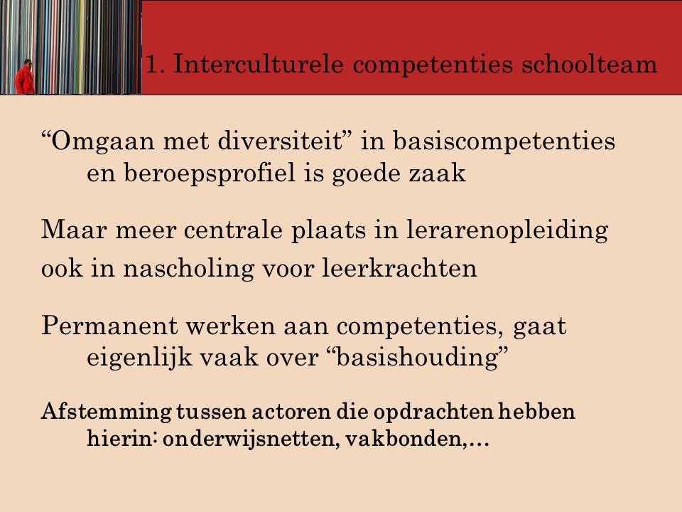 """1. Interculturele competenties schoolteam """"Omgaan met diversiteit"""" in basiscompetenties en beroepsprofiel is goede zaak Maar meer centrale plaats in l"""