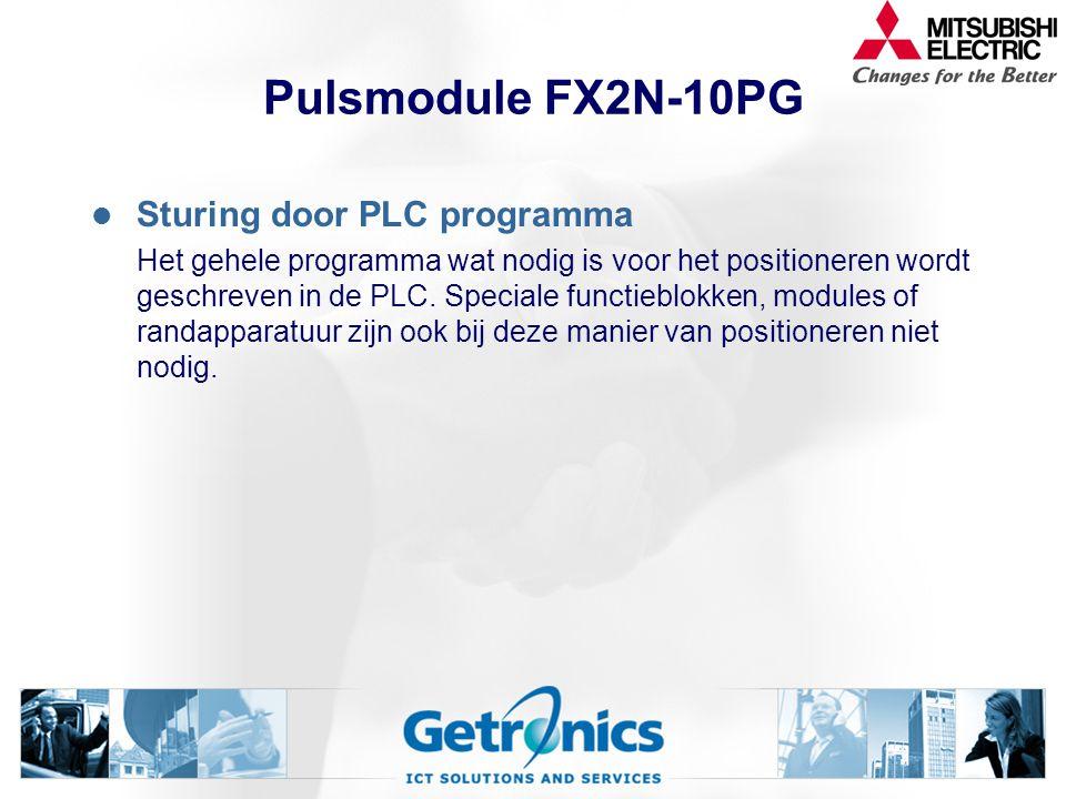 Pulsmodule FX2N-10PG Sturing door PLC programma Het gehele programma wat nodig is voor het positioneren wordt geschreven in de PLC. Speciale functiebl