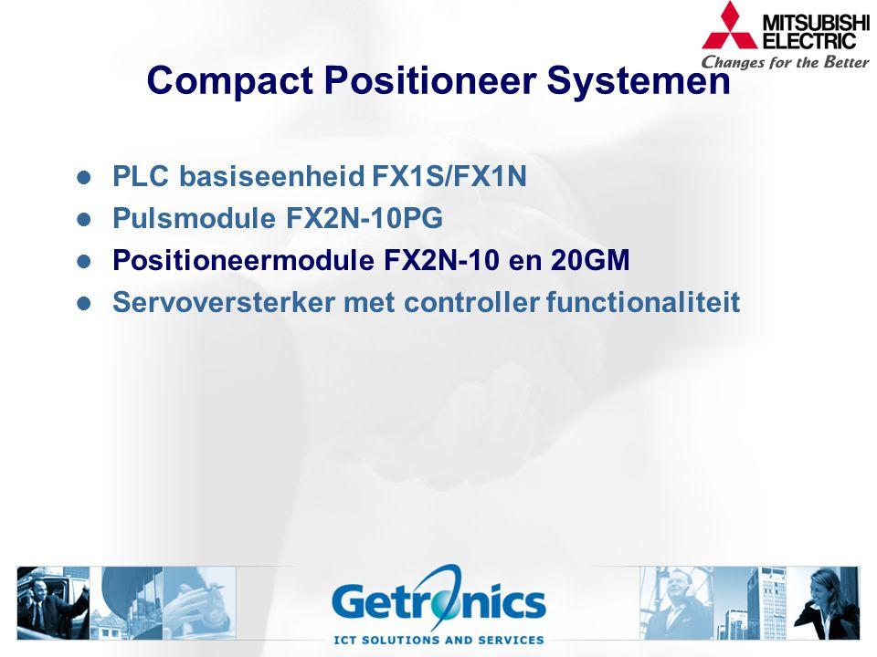 Compact Positioneer Systemen PLC basiseenheid FX1S/FX1N Pulsmodule FX2N-10PG Positioneermodule FX2N-10 en 20GM Servoversterker met controller functionaliteit