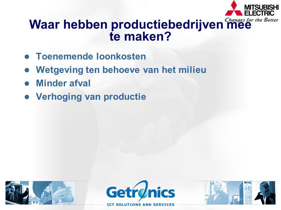 Waar hebben productiebedrijven mee te maken? Toenemende loonkosten Wetgeving ten behoeve van het milieu Minder afval Verhoging van productie