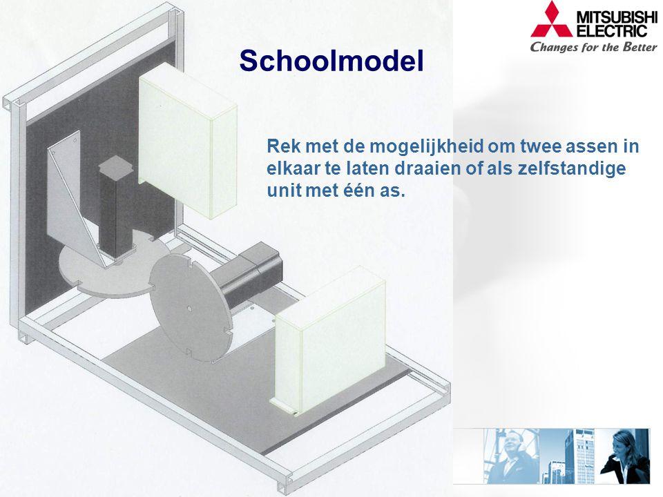 Schoolmodel Rek met de mogelijkheid om twee assen in elkaar te laten draaien of als zelfstandige unit met één as.
