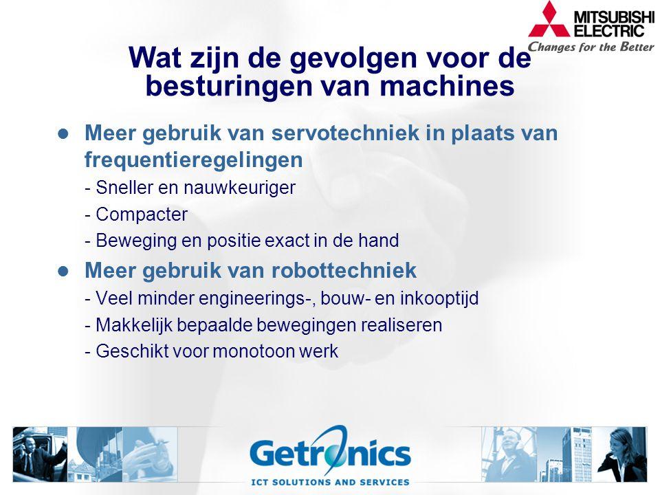 Wat zijn de gevolgen voor de besturingen van machines Meer gebruik van servotechniek in plaats van frequentieregelingen - Sneller en nauwkeuriger - Co