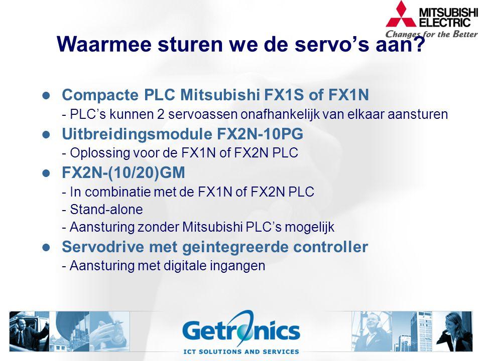 Waarmee sturen we de servo's aan? Compacte PLC Mitsubishi FX1S of FX1N - PLC's kunnen 2 servoassen onafhankelijk van elkaar aansturen Uitbreidingsmodu