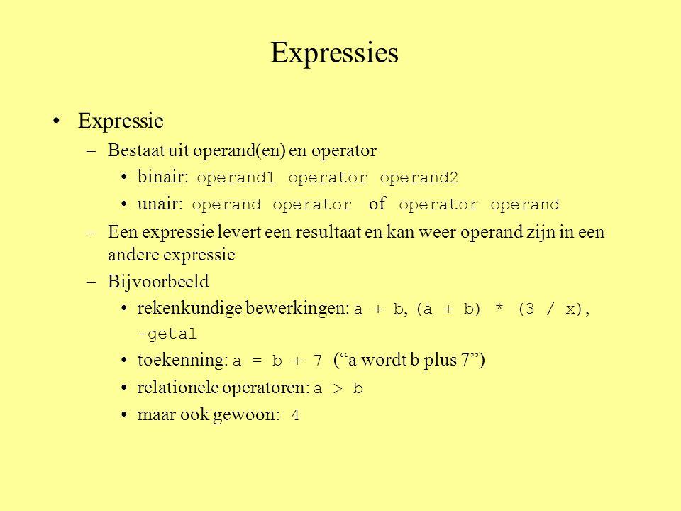 Expressies Expressie –Bestaat uit operand(en) en operator binair: operand1 operator operand2 unair: operand operator of operator operand –Een expressie levert een resultaat en kan weer operand zijn in een andere expressie –Bijvoorbeeld rekenkundige bewerkingen: a + b, (a + b) * (3 / x), -getal toekenning: a = b + 7 ( a wordt b plus 7 ) relationele operatoren: a > b maar ook gewoon: 4