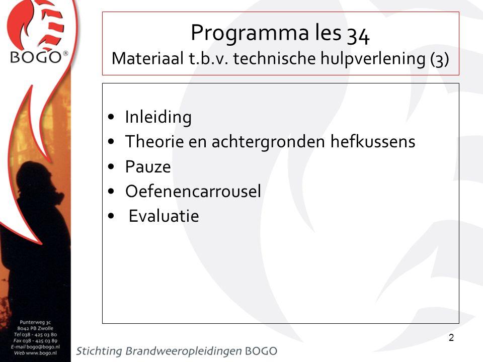 Programma les 34 Materiaal t.b.v. technische hulpverlening (3) Inleiding Theorie en achtergronden hefkussens Pauze Oefenencarrousel Evaluatie 2