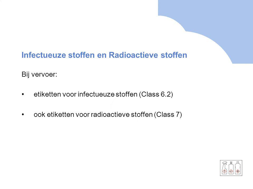 Infectueuze stoffen en Radioactieve stoffen Bij vervoer: etiketten voor infectueuze stoffen (Class 6.2) ook etiketten voor radioactieve stoffen (Class