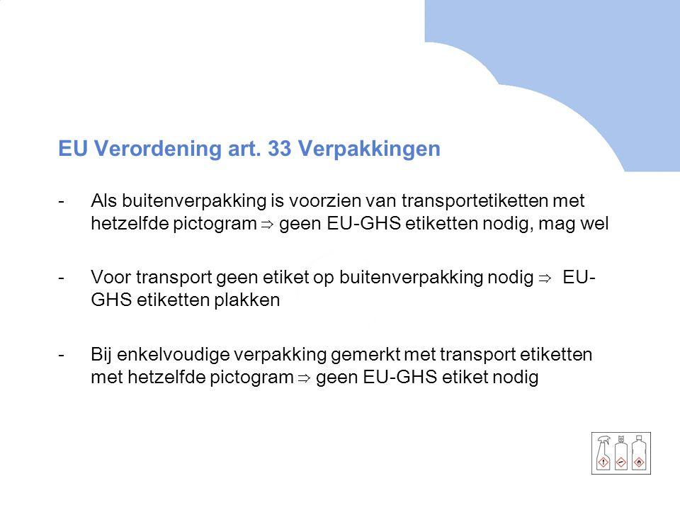 EU Verordening art. 33 Verpakkingen -Als buitenverpakking is voorzien van transportetiketten met hetzelfde pictogram ⇒ geen EU-GHS etiketten nodig, ma