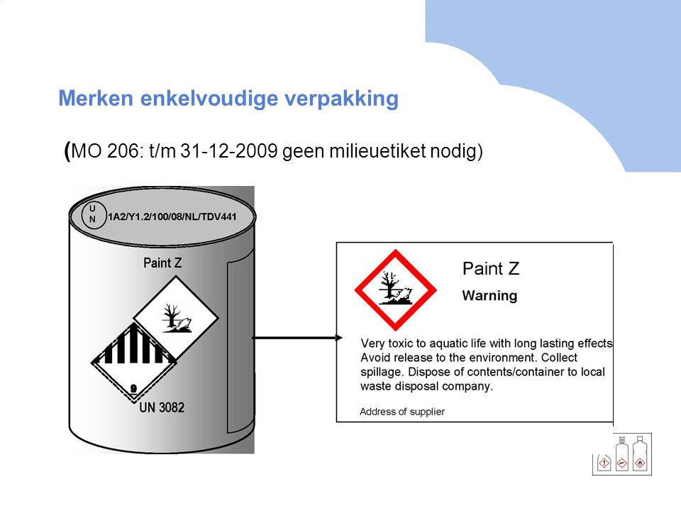 Merken enkelvoudige verpakking ( MO 206: t/m 31-12-2009 geen milieuetiket nodig)