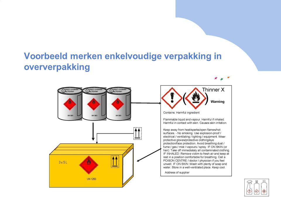 Voorbeeld merken enkelvoudige verpakking in oververpakking