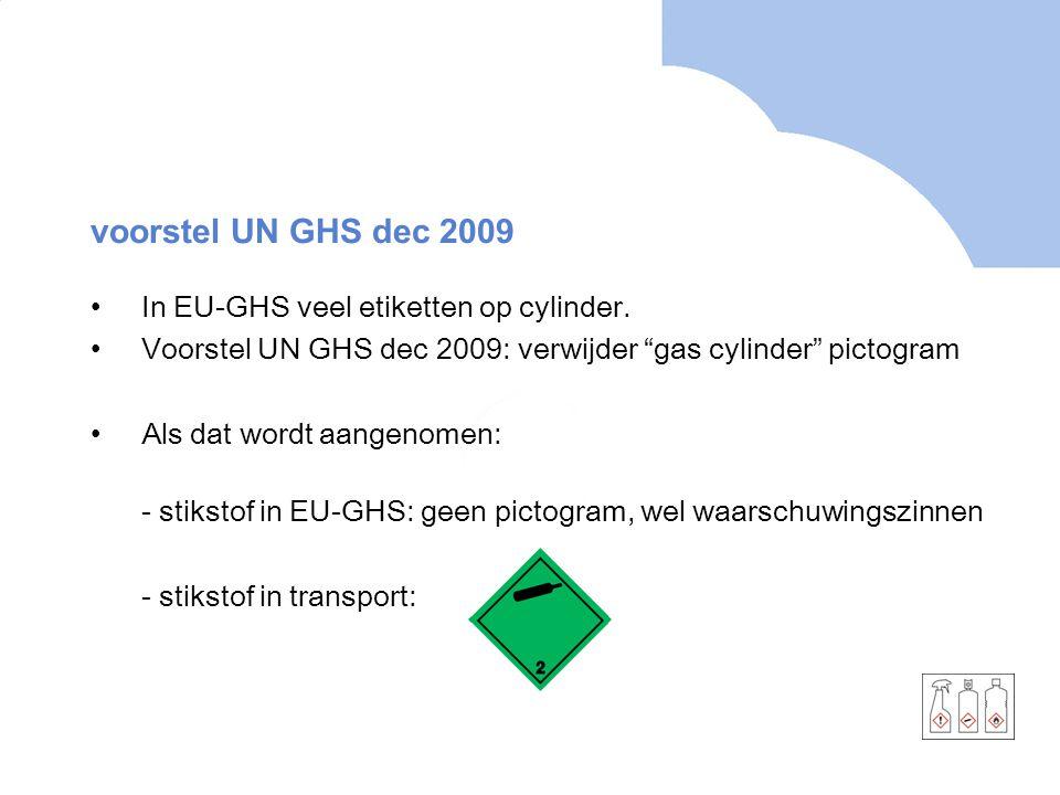 """voorstel UN GHS dec 2009 In EU-GHS veel etiketten op cylinder. Voorstel UN GHS dec 2009: verwijder """"gas cylinder"""" pictogram Als dat wordt aangenomen:"""