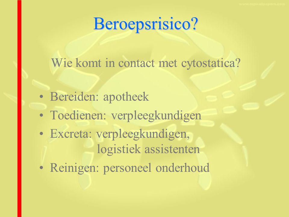 Beroepsrisico.Beroepsrisico. Wie komt in contact met cytostatica.