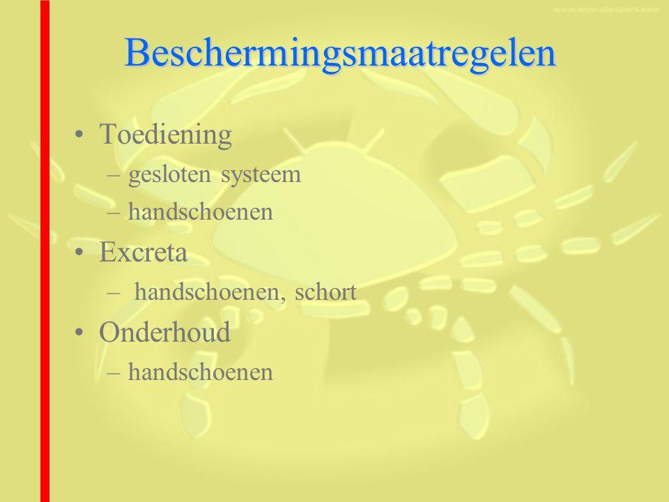 Beschermingsmaatregelen Toediening –gesloten systeem –handschoenen Excreta – handschoenen, schort Onderhoud –handschoenen