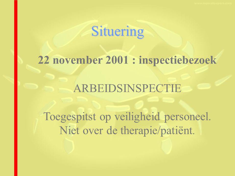 Situering 22 november 2001 : inspectiebezoek ARBEIDSINSPECTIE Toegespitst op veiligheid personeel.