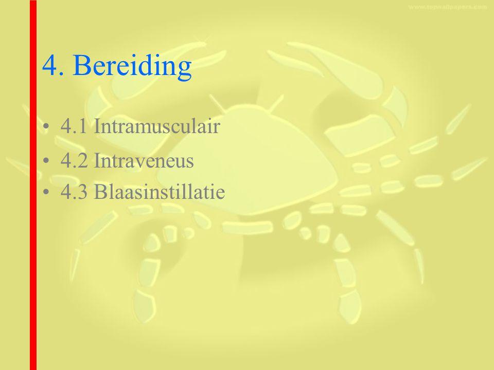 4. Bereiding 4.1 Intramusculair 4.2 Intraveneus 4.3 Blaasinstillatie