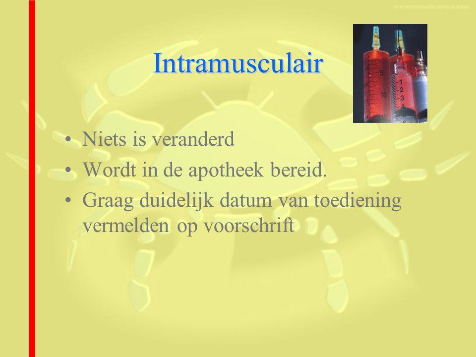 Intramusculair Niets is veranderd Wordt in de apotheek bereid.
