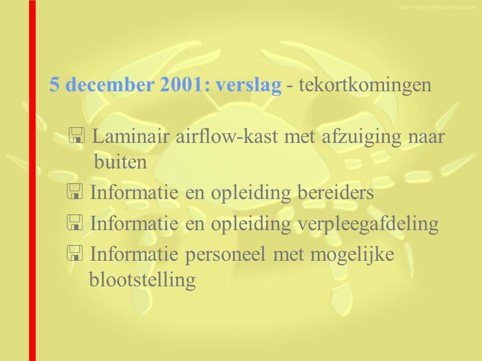 5 december 2001: verslag - tekortkomingen  Laminair airflow-kast met afzuiging naar buiten  Informatie en opleiding bereiders  Informatie en opleiding verpleegafdeling  Informatie personeel met mogelijke blootstelling