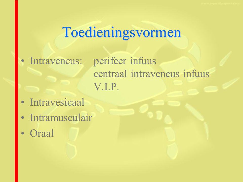 Toedieningsvormen Intraveneus: perifeer infuus centraal intraveneus infuus V.I.P.