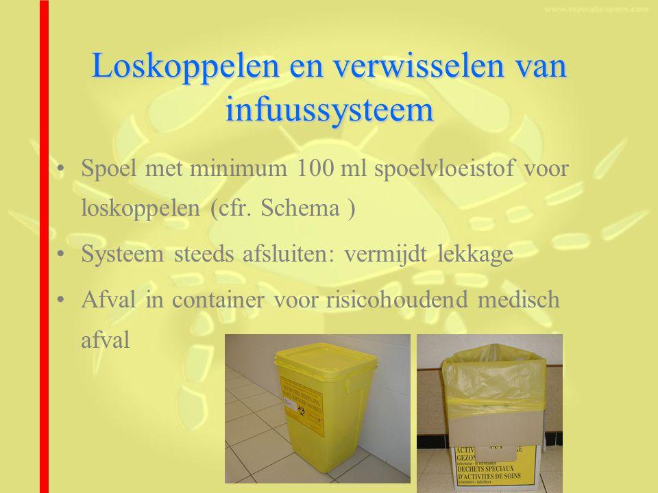 Loskoppelen en verwisselen van infuussysteem Spoel met minimum 100 ml spoelvloeistof voor loskoppelen (cfr.