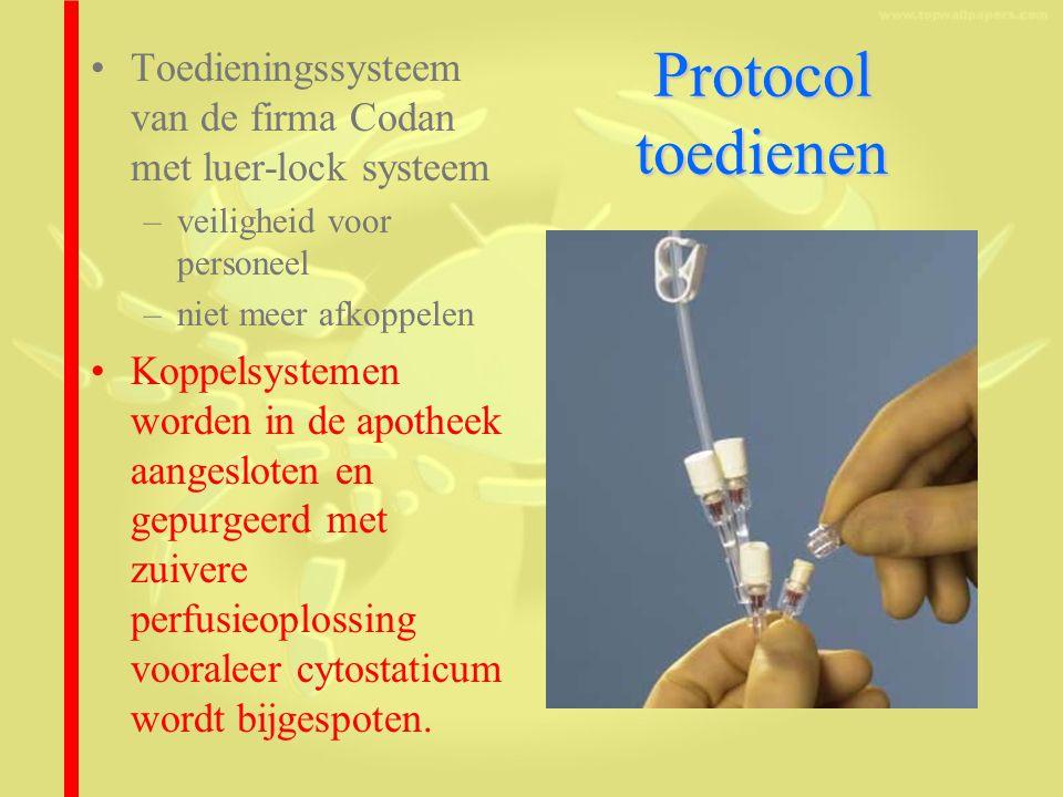 Protocol toedienen Toedieningssysteem van de firma Codan met luer-lock systeem –veiligheid voor personeel –niet meer afkoppelen Koppelsystemen worden in de apotheek aangesloten en gepurgeerd met zuivere perfusieoplossing vooraleer cytostaticum wordt bijgespoten.