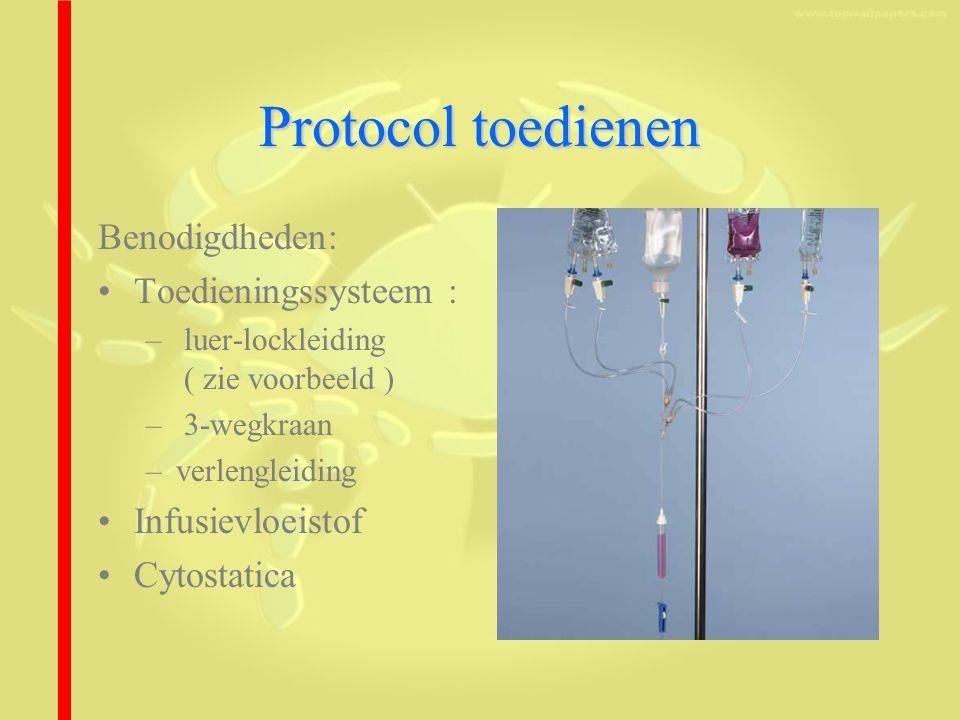 Protocol toedienen Benodigdheden: Toedieningssysteem : – luer-lockleiding ( zie voorbeeld ) – 3-wegkraan –verlengleiding Infusievloeistof Cytostatica