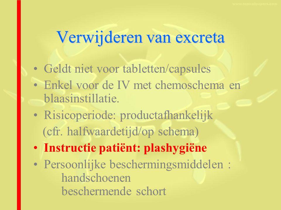 Verwijderen van excreta Geldt niet voor tabletten/capsules Enkel voor de IV met chemoschema en blaasinstillatie.