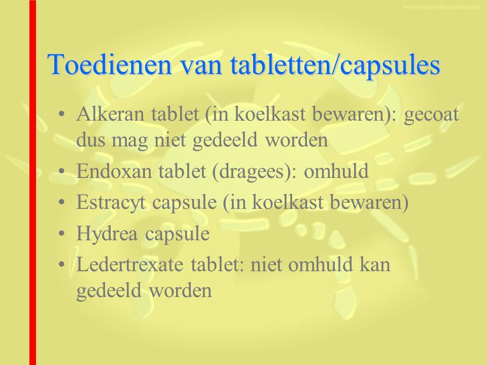Toedienen van tabletten/capsules Alkeran tablet (in koelkast bewaren): gecoat dus mag niet gedeeld worden Endoxan tablet (dragees): omhuld Estracyt capsule (in koelkast bewaren) Hydrea capsule Ledertrexate tablet: niet omhuld kan gedeeld worden