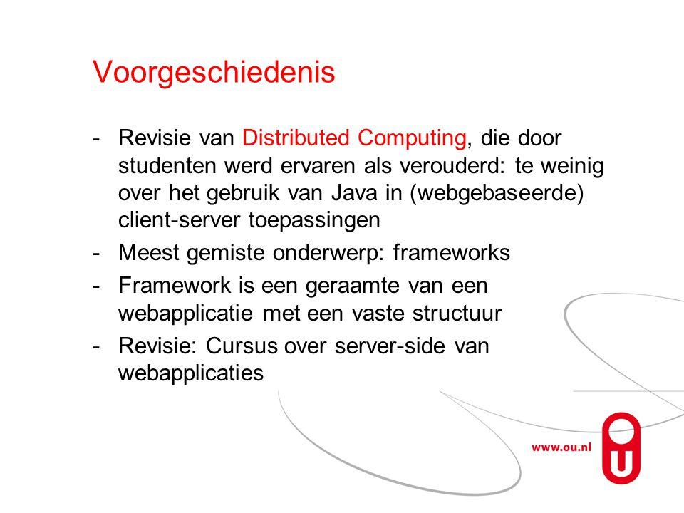 Voorgeschiedenis Revisie van Distributed Computing, die door studenten werd ervaren als verouderd: te weinig over het gebruik van Java in (webgebaseerde) client-server toepassingen Meest gemiste onderwerp: frameworks Framework is een geraamte van een webapplicatie met een vaste structuur Revisie: Cursus over server-side van webapplicaties
