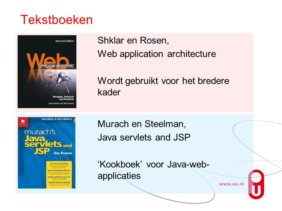 Tekstboeken Shklar en Rosen, Web application architecture Wordt gebruikt voor het bredere kader Murach en Steelman, Java servlets and JSP 'Kookboek' v