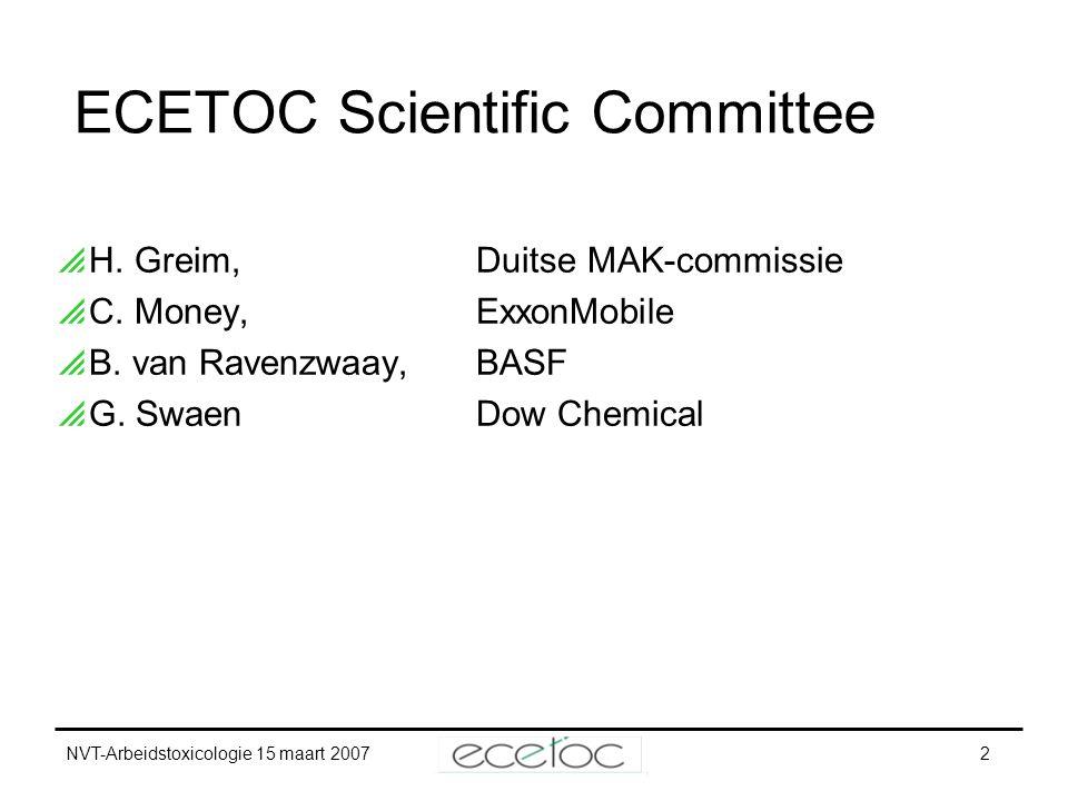 NVT-Arbeidstoxicologie 15 maart 20072 ECETOC Scientific Committee  H. Greim,Duitse MAK-commissie  C. Money,ExxonMobile  B. van Ravenzwaay,BASF  G.