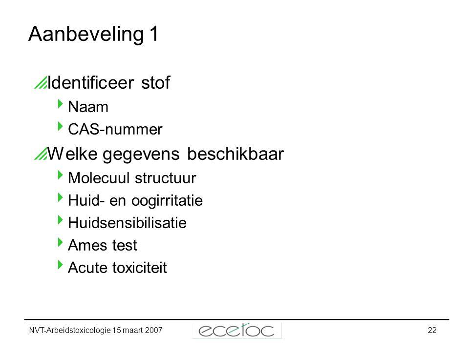 NVT-Arbeidstoxicologie 15 maart 200722 Aanbeveling 1  Identificeer stof  Naam  CAS-nummer  Welke gegevens beschikbaar  Molecuul structuur  Huid-