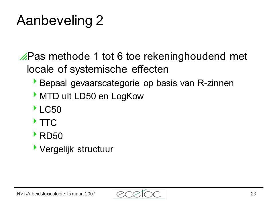 NVT-Arbeidstoxicologie 15 maart 200723 Aanbeveling 2  Pas methode 1 tot 6 toe rekeninghoudend met locale of systemische effecten  Bepaal gevaarscate