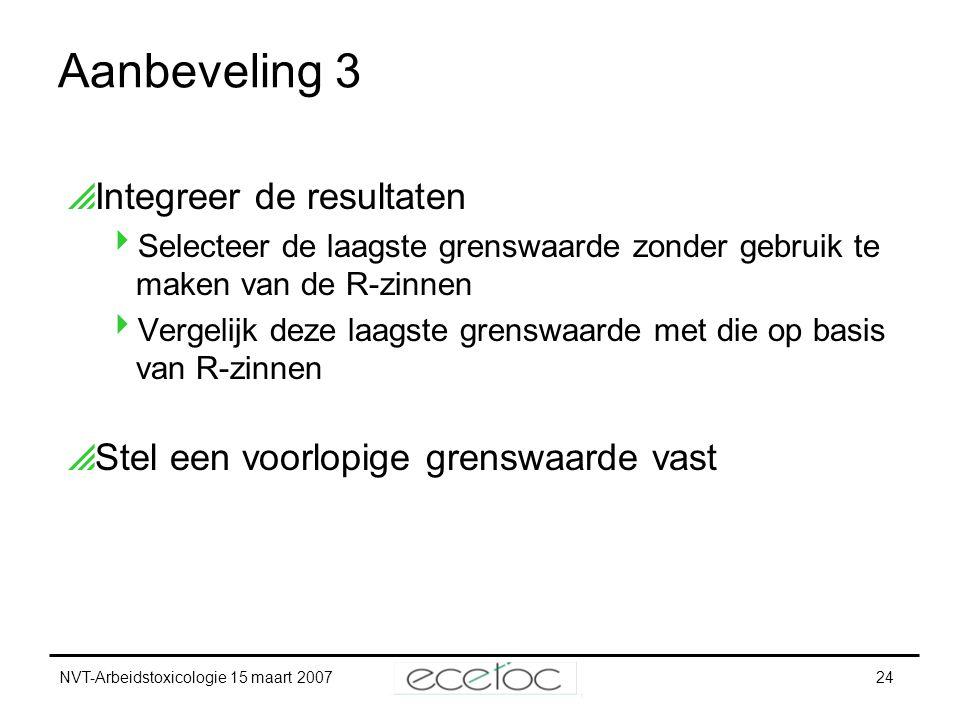NVT-Arbeidstoxicologie 15 maart 200724 Aanbeveling 3  Integreer de resultaten  Selecteer de laagste grenswaarde zonder gebruik te maken van de R-zin