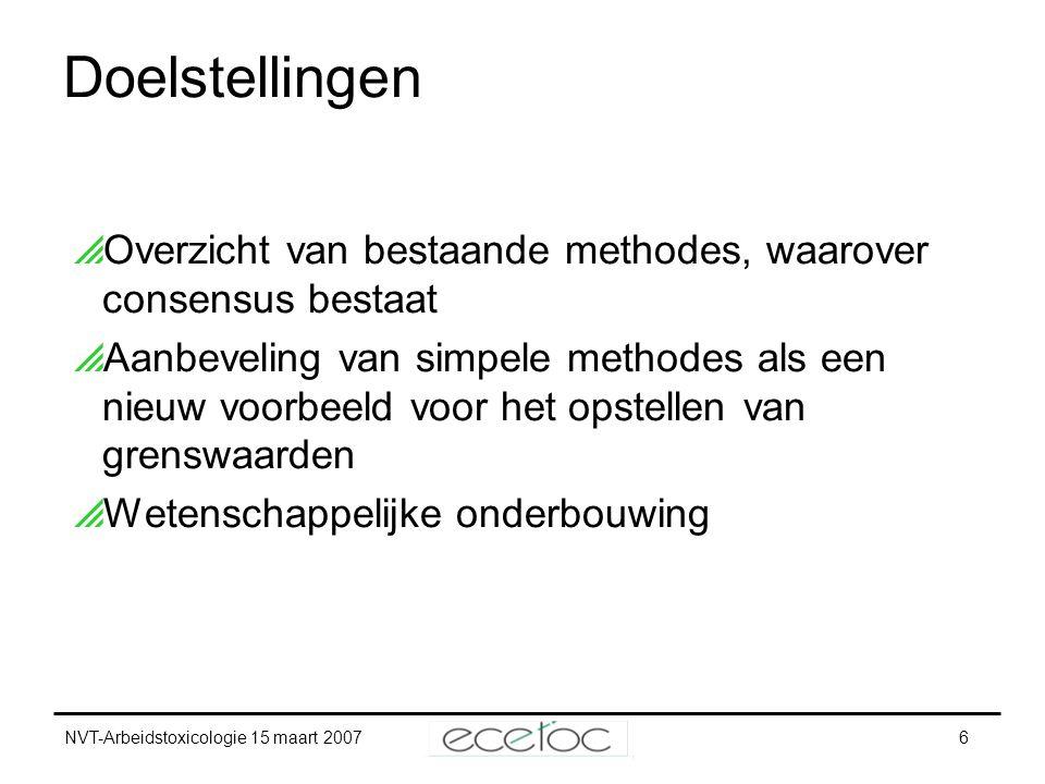 NVT-Arbeidstoxicologie 15 maart 20076 Doelstellingen  Overzicht van bestaande methodes, waarover consensus bestaat  Aanbeveling van simpele methodes