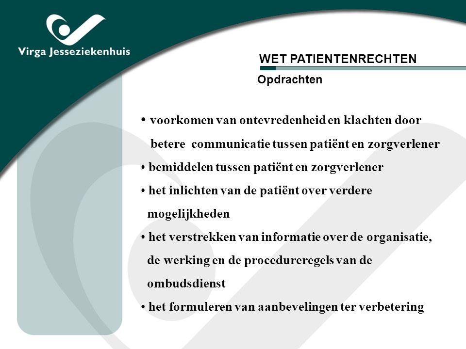 WET RECHTEN PATIENT geïnstalleerd op 7 juli 2003 hierbij oprichting van Federale ombudsdienst een Nederlandstalige en een Franstalige ombudspersoon behandelen van klachten waarmee patiënten elders niet terecht kunnen vb.