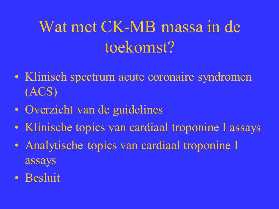 Wat met CK-MB massa in de toekomst? Klinisch spectrum acute coronaire syndromen (ACS) Overzicht van de guidelines Klinische topics van cardiaal tropon